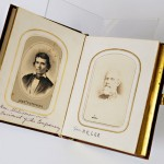 Album of Civil War figures, opened to photographs of Robert E. Lee (right) and Alex H. Stephens (left).