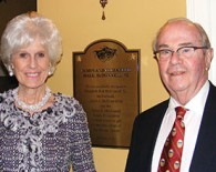 "Elizabeth ""Libby"" Hall McDonnell '62 and her husband, James, in the theatre's lobby."