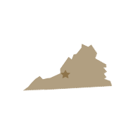 Map of Virginia with star over Hollins location