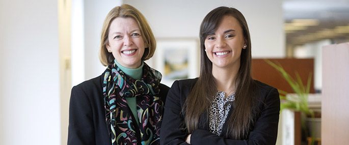Haley Ortiz '16 interned with alumna Amanda Miller of John Wiley & Sons in New York City.