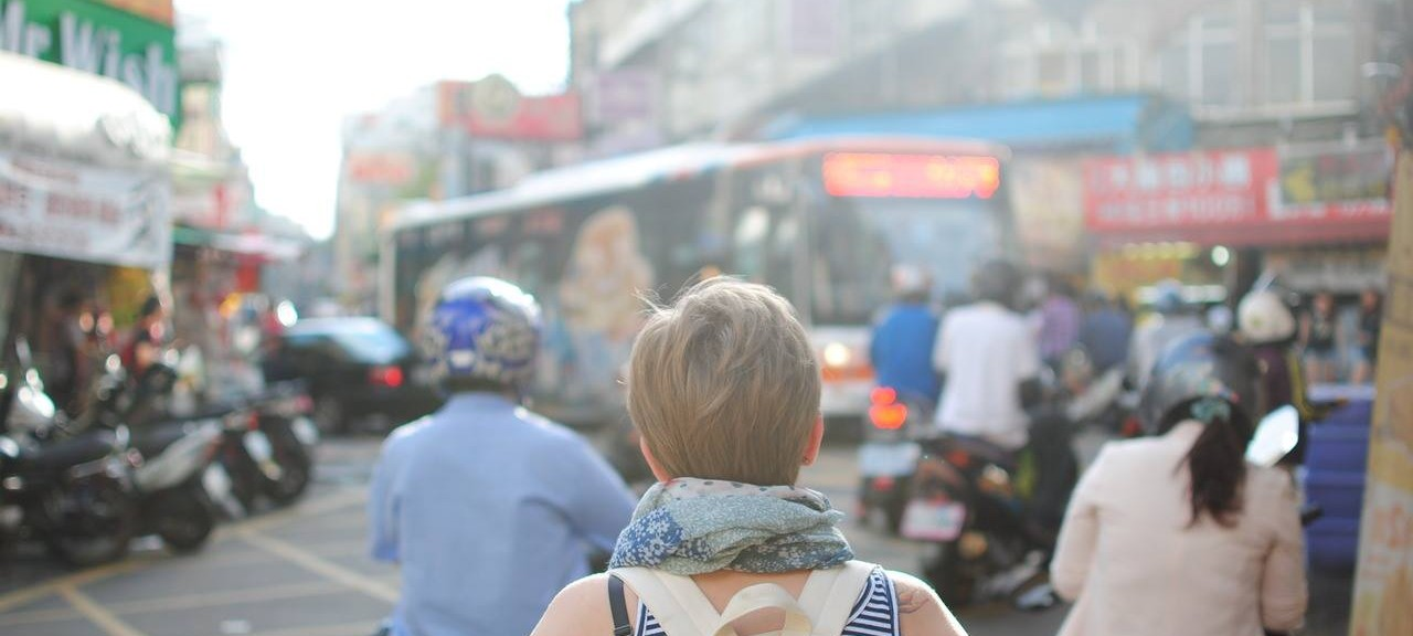 Woman looking at bus