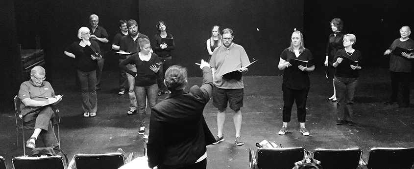 Students and faculty working together as a part of the certificate in play directing program.