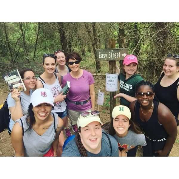 Professor Joseph's Special Events Management class out on the #libraryhike! The books and hiking packs will be available through the weekend, so head out on the trail to #CarvinsCove soon! #myhollins