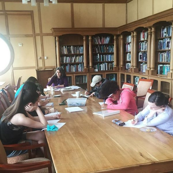 Even though the writing workshop isn't happening on the trail, we're writing about spring in the Hollins Room! #raincantkeepusdown #MyHollins #writingworkshop #janisseray