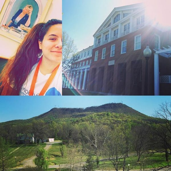 Starting my morning off with a few hours in the library, which doubles as my work study job AND my favorite building on campus. With a view like this, my bff Wyndham and I often get caught day dreaming about Tinker Day while we're on the clock. Whoops!  #myhollins #instatakeover #d3life #studentathlete #whenistinkerday2016