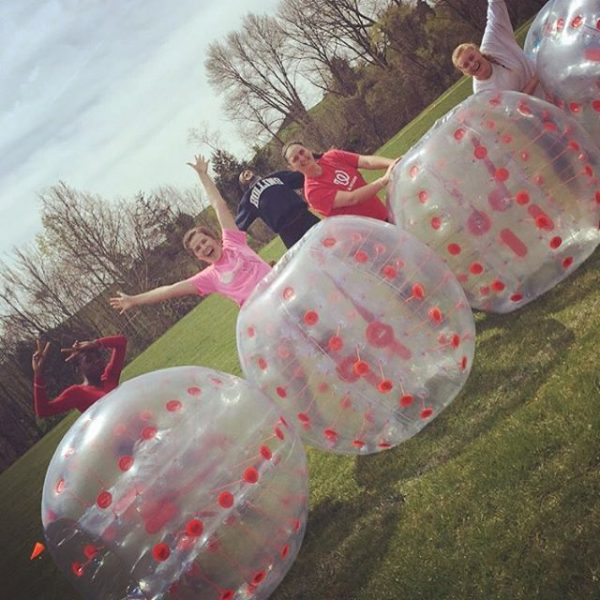 """This is a lot more tiring than I thought it would be"" #bubblesoccer #thanksaubz #myhollins"