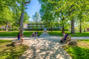 Students relaxing on Front Quad