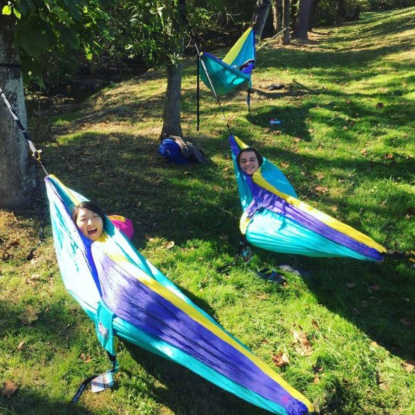 Students in hammocks