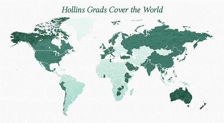 Image of map of Hollins alumnae