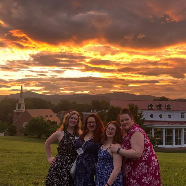 Photo of alumnae at sunset during reunion