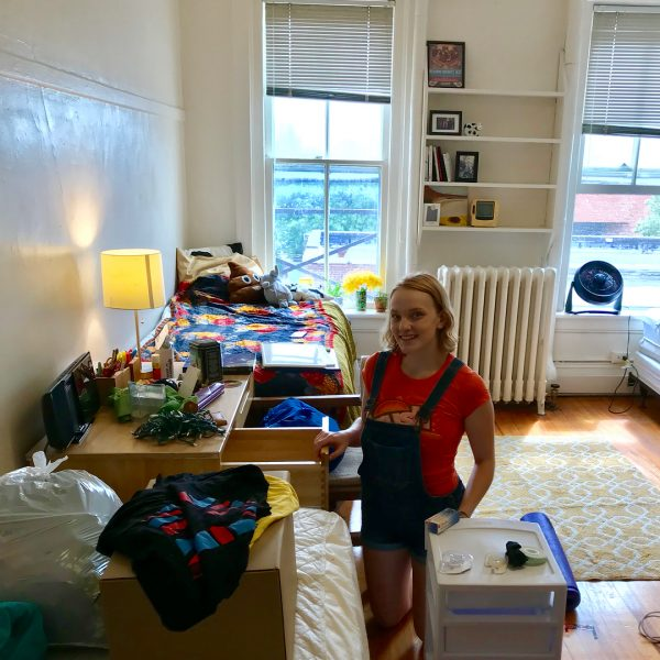 Photo of student in dorm room