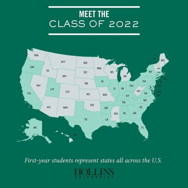 Map image showing states represented for the Class of 2022