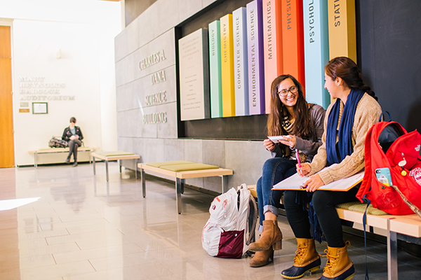 Students in Dana Lobby of Hollins University enjoying one the Nation's Top 30 Schools for Value.