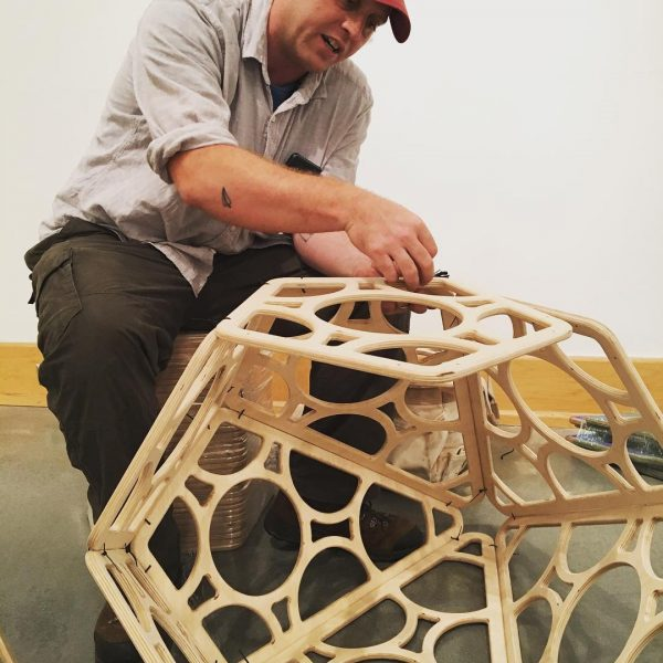 Image of artist during installation