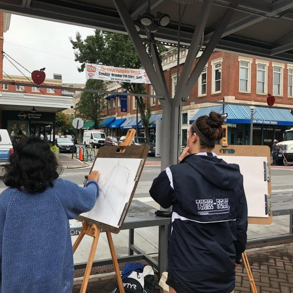 Photo of landscape drawing class