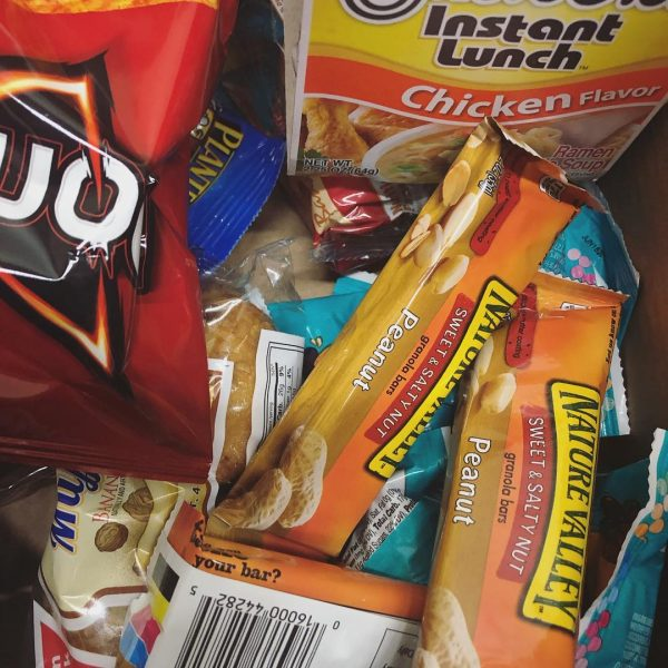 Photo of snacks that the library offers during exam time