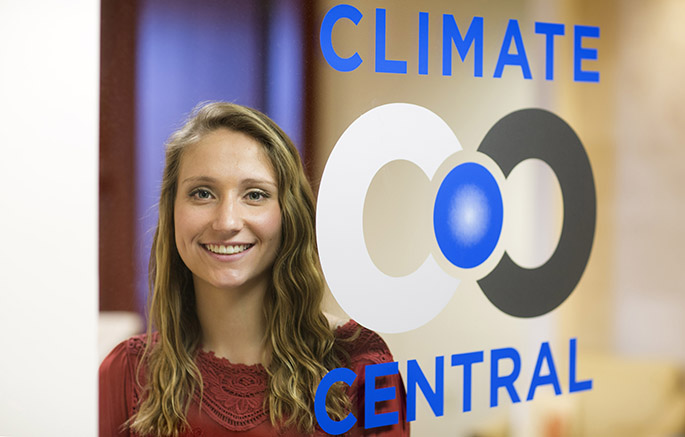 Photo of Hollins student interning at Climate Central in NYC