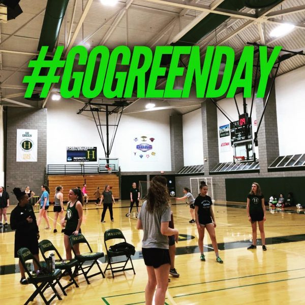 Photo of athletes in gym for Go Green Day