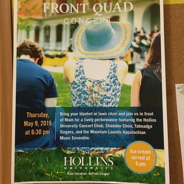 Photo of poster for Front Quad concert