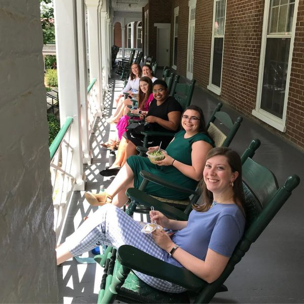 Photo of admission team on front porch of Main