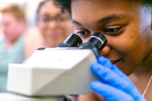 Photo of Hollins student in lab