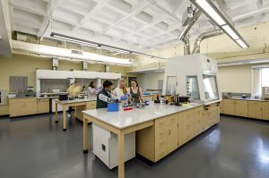 Students in the Dana Science Building