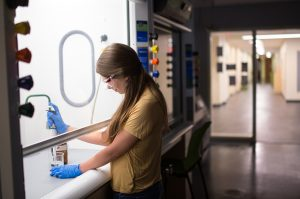 Student in a lab in the Dana Science Building