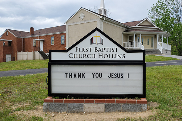 First Baptist Church Hollins Marquee