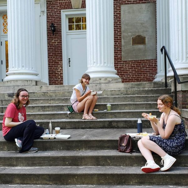 Students on porch eating