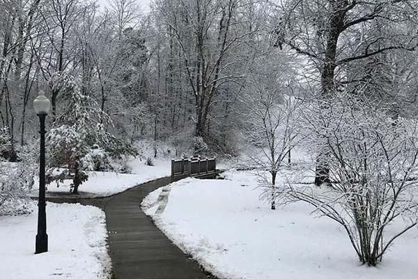 Winter Campus Scene