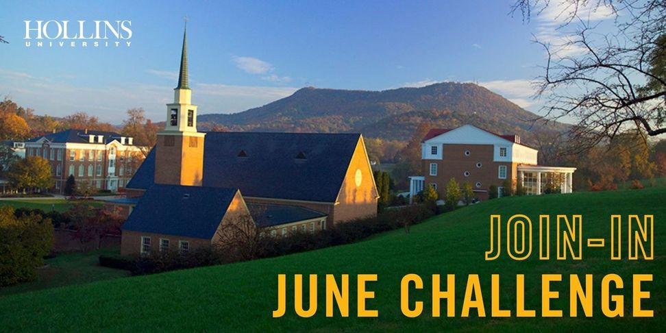 A photo of the chapel and library on campus with the words Join In June Challenge